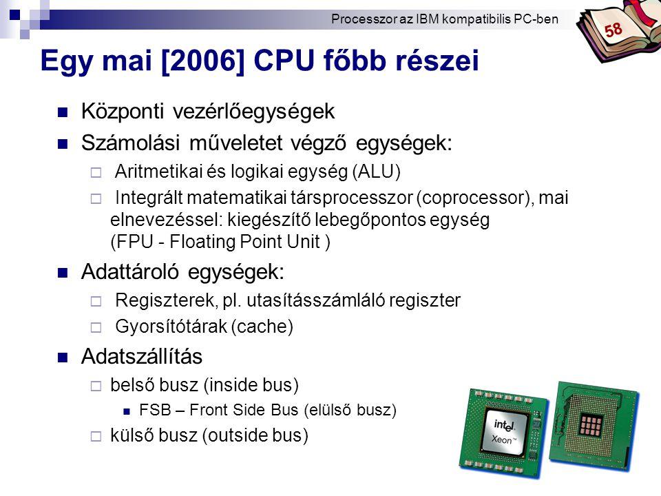 Egy mai [2006] CPU főbb részei
